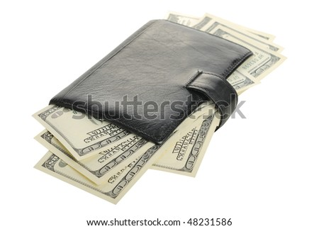dollars in the purse isolated on white