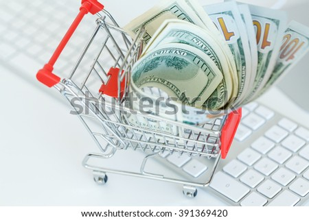 Dollars in the shopping cart on a computer keyboard - concept of online shopping