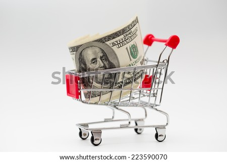 Dollars in the shopping trolley