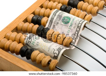 dollars in wooden abacus isolated on white background - stock photo