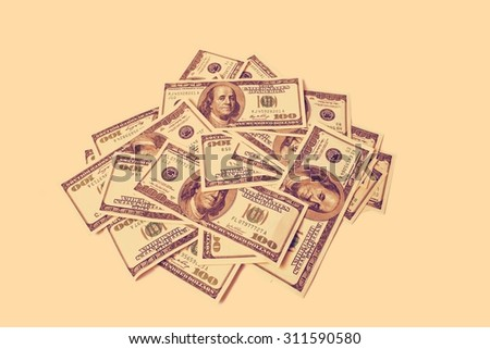 dollars isolated on white retro - stock photo