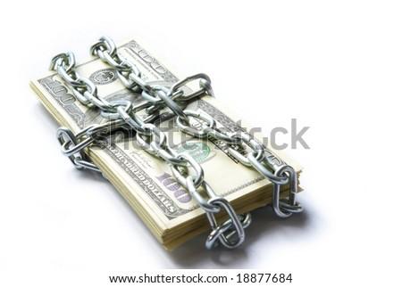 Dollars locked a chain - stock photo