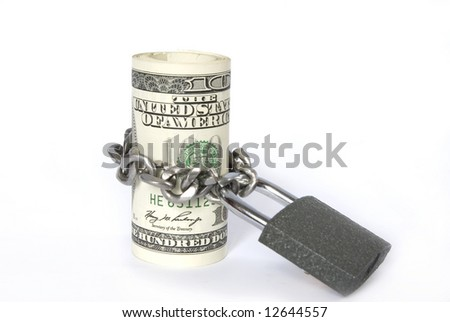 Dollars locked a chain on a white background - stock photo