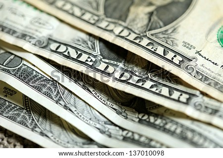 Dollars. Macro image with selective focus. - stock photo