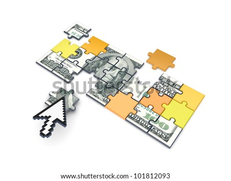 Dollars made of puzzles.Isolated on white background.3d rendered.