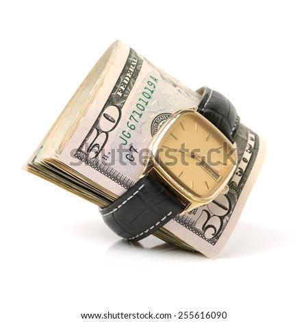 dollars money banknotes isolated on white background - stock photo
