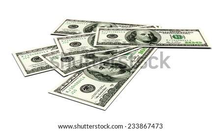 Dollars money banknotes on a white. 3d image