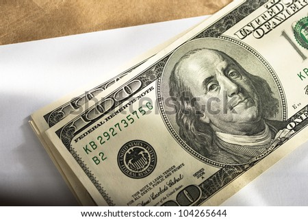 Dollars on the blank sheet of paper