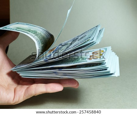 dollars on the hand - stock photo
