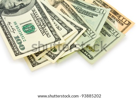 dollars on white background - stock photo