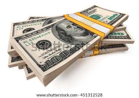 Dollars packs against white background. High quality 3d render. - stock photo