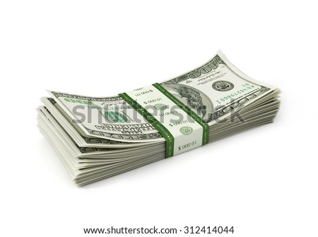 Dollars paper stack isolayed - stock photo
