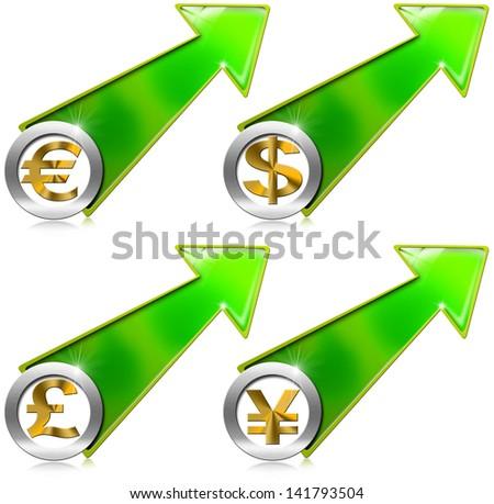 Dollars Pound Euro Yen Growth Positive Arrow / Green arrow tending upwards with dollars pound euro yen currency symbols - stock photo