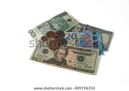 Dollars, pounds, euro, zloty and coins on a white background. - stock photo