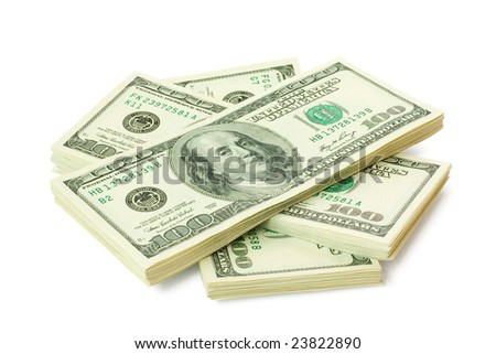 dollars. sheaf of money isolated on white background