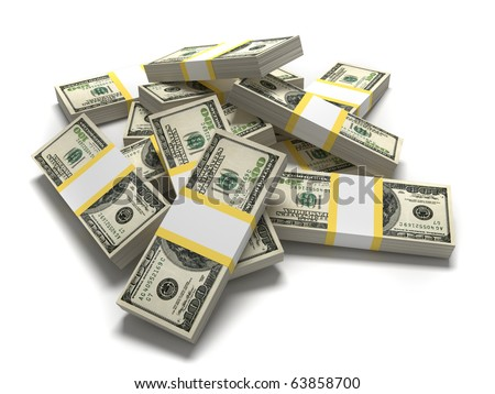 Dollars - this is a 3d render illustration - stock photo