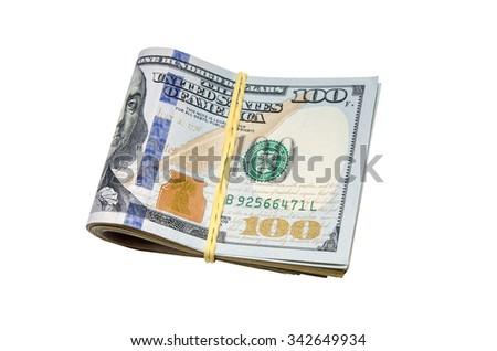 dollars tied isolated on white background - stock photo