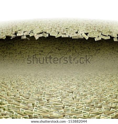Dollars wave. Money tsunami  - stock photo