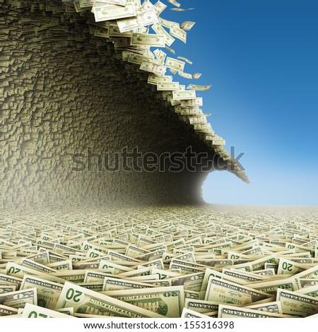 Dollars wave. Money tsunami with blue sky.  - stock photo