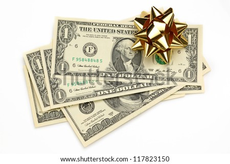 Dollars with decorative bow on white