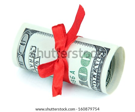 Dollars with gift bow isolated on white - stock photo