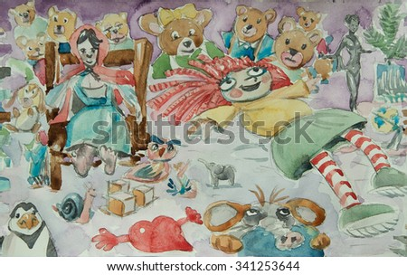 dolls and toys in a children bedroom watercolor illustration - stock photo