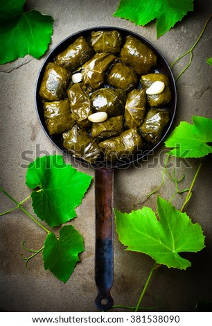 dolma from grape leaves. style rustic. selective focus - stock photo