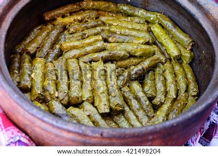 dolma ,greek traditional appetizer on terracotta bowl. selective focus stuffed vine leaves - stock photo