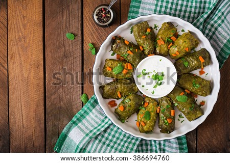Dolma stuffed with rice and meat - greek traditional appetizer. Top view - stock photo