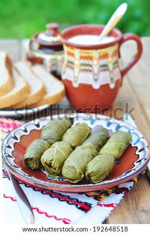 Dolmades - stuffed grape leaves - stock photo