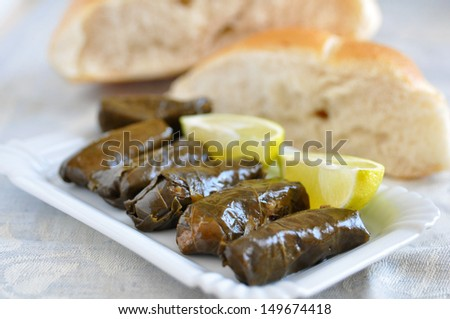 Dolmades with lemon wedges and pita bread - stock photo