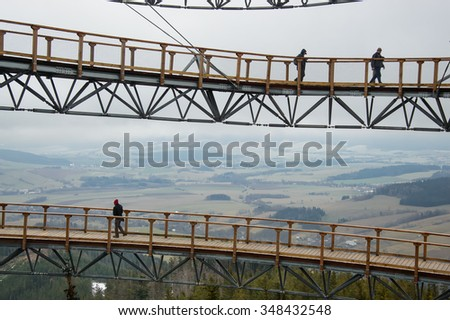 Dolni Morava, Czech Republic - 05 December 2015: Sky Walk. Opening of the new observation tower in Dolni Morava.At an altitude of 1116 meters above sea level. Its height is 55 meters.