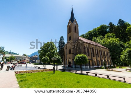 DOLNY KUBIN - JUNE 5: Exterior view of the churches in the city centre of Dolny Kubin, Slovakia on June 5, 2015. It is the historical capital of the Orava region.