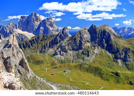 Dolomite Alps around Giau pass as seen from Averau summit, Italy