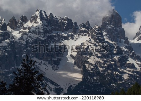 Dolomite Mountains in Northeastern Italy - stock photo
