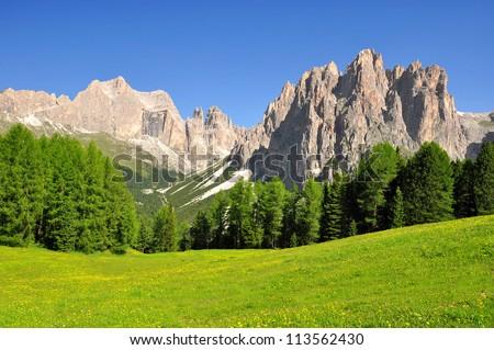 Dolomite peaks, Rosengarten,Val di Fassa, Italy Alps - stock photo