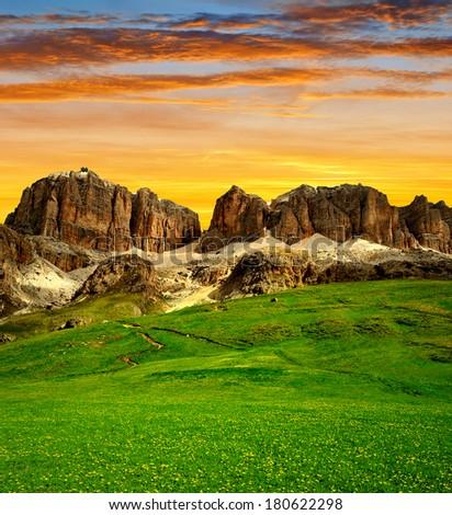 Dolomite peaks,Sella,Val di Fassa, Italy Alps - stock photo
