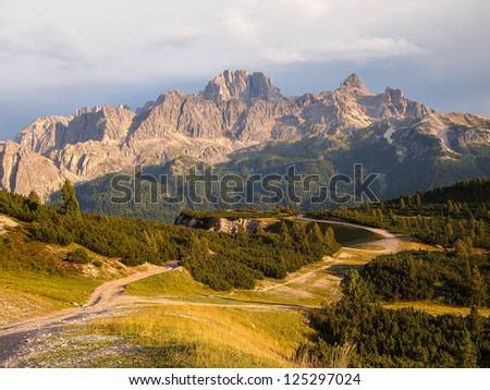 Dolomites Group Cristallo -  Val Padeon near Cortina d Ampezzo. - stock photo