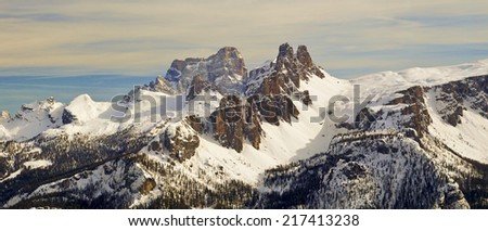 Dolomites Mountain in winter, near Cortina D'Ampezzo, Veneto, Italy