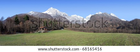 Dolomiti landscape view of Cimone and Pizzocco mountains