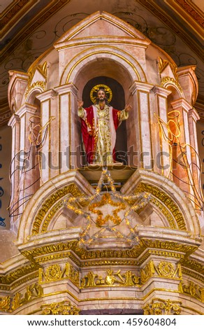 DOLORES HIDALGO, MEXICO - DECEMBER 29, 2014 Christmas Christ Statue Parroquia Cathedral Dolores Hidalgo Mexico. Cathedral built in the 1700s.   - stock photo