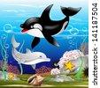 Dolphin and Killer Whale Cartoon on the Ocean - stock vector