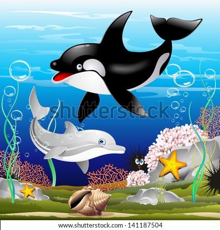 Dolphin and Killer Whale Cartoon on the Ocean - stock photo
