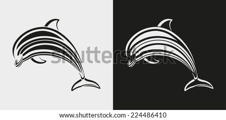 dolphin icon  - stock photo