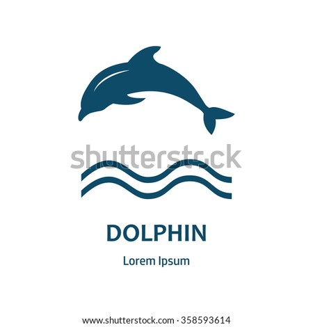 Dolphin logo icon design element. Logo concept illustration. Dolphin symbol. Design of logo with dolphin and label. Design template for company logo. Corporate Identity.