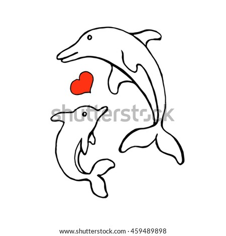 dolphin sketch for swimming pool logo design raster illustration with two dolphins and heart
