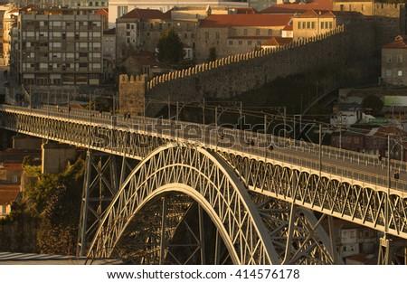 dom luis bridge in porto - stock photo