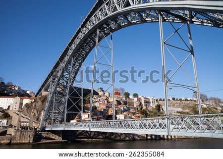 Dom Luis bridge in Porto, Portugal.