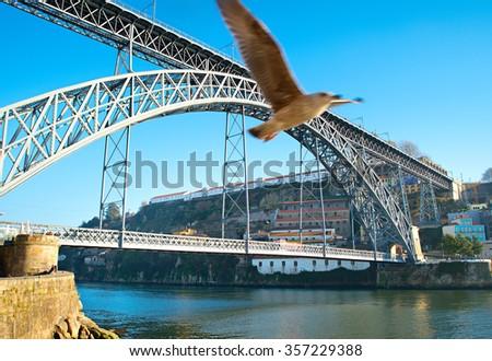 Dom Luis I Bridge over Douro river in Porto, Portugal.  - stock photo
