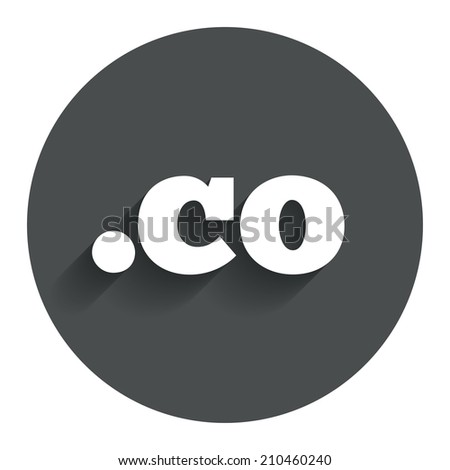 Domain CO sign icon. Top-level internet domain symbol. Circle flat button with shadow. Modern UI website navigation. - stock photo